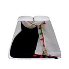 Indiahandycrfats Women Fashion White Dupatta With Multicolour Pompom All Four Sides For Girls/women Fitted Sheet (full/ Double Size)