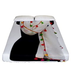 Indiahandycrfats Women Fashion White Dupatta With Multicolour Pompom All Four Sides For Girls/women Fitted Sheet (king Size) by Indianhandycrafts