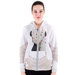 Indiahandycrfats Women Fashion White Dupatta With Multicolour Pompom All Four Sides For Girls/women Women s Zipper Hoodie by Indianhandycrafts