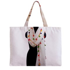 Indiahandycrfats Women Fashion White Dupatta With Multicolour Pompom All Four Sides For Girls/women Zipper Mini Tote Bag by Indianhandycrafts