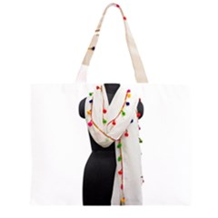 Indiahandycrfats Women Fashion White Dupatta With Multicolour Pompom All Four Sides For Girls/women Zipper Large Tote Bag by Indianhandycrafts