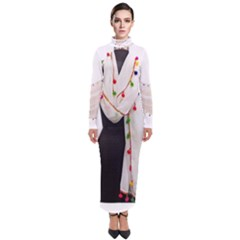 Indiahandycrfats Women Fashion White Dupatta With Multicolour Pompom All Four Sides For Girls/women Turtleneck Maxi Dress by Indianhandycrafts