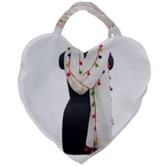 Indiahandycrfats Women Fashion White Dupatta With Multicolour Pompom All Four Sides For Girls/women Giant Heart Shaped Tote by Indianhandycrafts