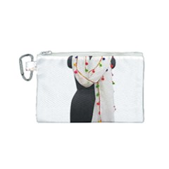 Indiahandycrfats Women Fashion White Dupatta With Multicolour Pompom All Four Sides For Girls/women Canvas Cosmetic Bag (small) by Indianhandycrafts