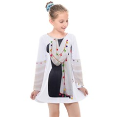 Indiahandycrfats Women Fashion White Dupatta With Multicolour Pompom All Four Sides For Girls/women Kids  Long Sleeve Dress