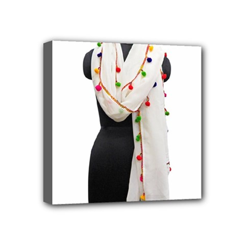 Indiahandycrfats Women Fashion White Dupatta With Multicolour Pompom All Four Sides For Girls/women Mini Canvas 4  X 4  (stretched) by Indianhandycrafts
