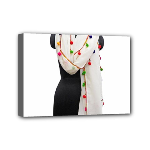 Indiahandycrfats Women Fashion White Dupatta With Multicolour Pompom All Four Sides For Girls/women Mini Canvas 7  X 5  (stretched) by Indianhandycrafts
