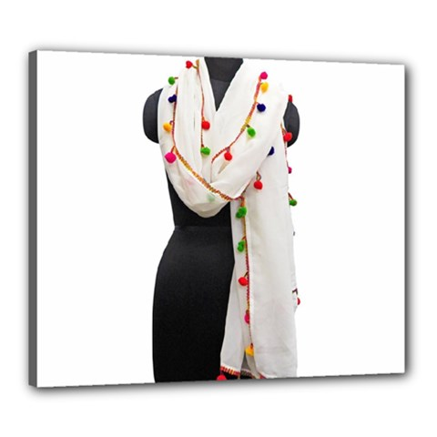 Indiahandycrfats Women Fashion White Dupatta With Multicolour Pompom All Four Sides For Girls/women Canvas 24  X 20  (stretched) by Indianhandycrafts