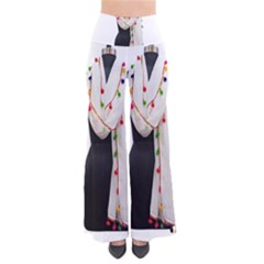 Indiahandycrfats Women Fashion White Dupatta With Multicolour Pompom All Four Sides For Girls/women So Vintage Palazzo Pants by Indianhandycrafts