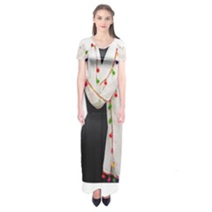 Indiahandycrfats Women Fashion White Dupatta With Multicolour Pompom All Four Sides For Girls/women Short Sleeve Maxi Dress by Indianhandycrafts