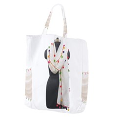 Indiahandycrfats Women Fashion White Dupatta With Multicolour Pompom All Four Sides For Girls/women Giant Grocery Tote by Indianhandycrafts