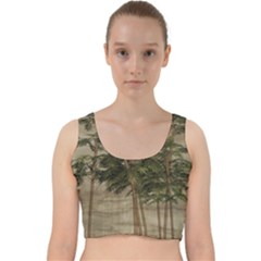 Vintage Bamboo Trees Velvet Racer Back Crop Top