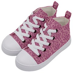 Victorian Pink Ornamental Kid s Mid Top Canvas Sneakers by snowwhitegirl