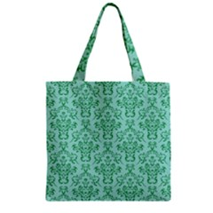 Victorian Teal Ornamental Zipper Grocery Tote Bag by snowwhitegirl