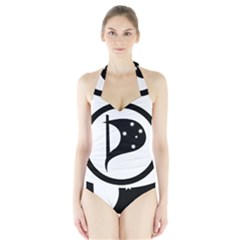 Logo Of Pirate Party Australia Halter Swimsuit by abbeyz71