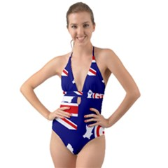 Flag Map Of Government Ensign Of Northern Ireland, 1929 1973 Halter Cut Out One Piece Swimsuit