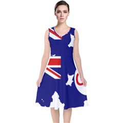 Flag Map Of Government Ensign Of Northern Ireland, 1929 1973 V Neck Midi Sleeveless Dress