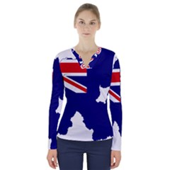 Flag Map Of Government Ensign Of Northern Ireland, 1929 1973 V Neck Long Sleeve Top
