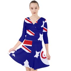Flag Map Of Government Ensign Of Northern Ireland, 1929 1973 Quarter Sleeve Front Wrap Dress