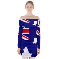 Flag Map Of Government Ensign Of Northern Ireland, 1929 1973 Long Sleeve Off Shoulder Dress