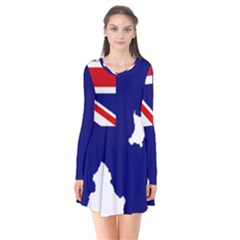 Flag Map Of Government Ensign Of Northern Ireland, 1929 1973 Long Sleeve V Neck Flare Dress