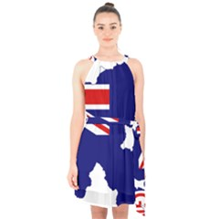 Flag Map Of Government Ensign Of Northern Ireland, 1929 1973 Halter Collar Waist Tie Chiffon Dress