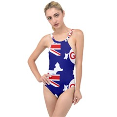 Flag Map Of Government Ensign Of Northern Ireland, 1929 1973 High Neck One Piece Swimsuit