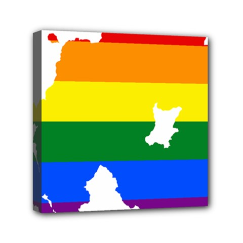 Lgbt Flag Map Of Northern Ireland Mini Canvas 6  X 6  (stretched) by abbeyz71