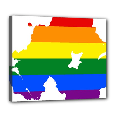Lgbt Flag Map Of Northern Ireland Deluxe Canvas 24  X 20  (stretched) by abbeyz71