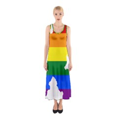 Lgbt Flag Map Of Northern Ireland Sleeveless Maxi Dress
