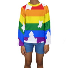 Lgbt Flag Map Of Northern Ireland Kids  Long Sleeve Swimwear
