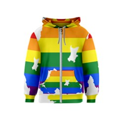 Lgbt Flag Map Of Northern Ireland Kids  Zipper Hoodie