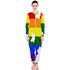 Lgbt Flag Map Of Northern Ireland Onepiece Jumpsuit (ladies)