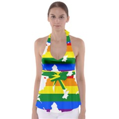 Lgbt Flag Map Of Northern Ireland Babydoll Tankini Top