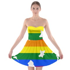 Lgbt Flag Map Of Northern Ireland Strapless Bra Top Dress