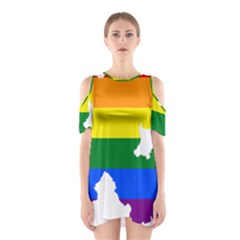 Lgbt Flag Map Of Northern Ireland Shoulder Cutout One Piece Dress