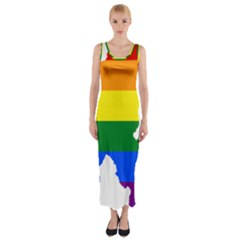 Lgbt Flag Map Of Northern Ireland Fitted Maxi Dress