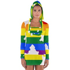 Lgbt Flag Map Of Northern Ireland Long Sleeve Hooded T Shirt