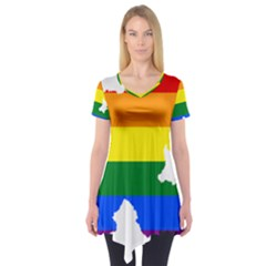 Lgbt Flag Map Of Northern Ireland Short Sleeve Tunic
