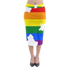 Lgbt Flag Map Of Northern Ireland Midi Pencil Skirt