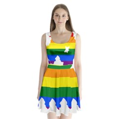 Lgbt Flag Map Of Northern Ireland Split Back Mini Dress