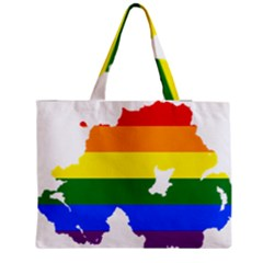 Lgbt Flag Map Of Northern Ireland Zipper Medium Tote Bag
