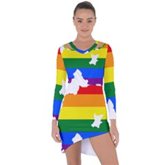 Lgbt Flag Map Of Northern Ireland Asymmetric Cut Out Shift Dress