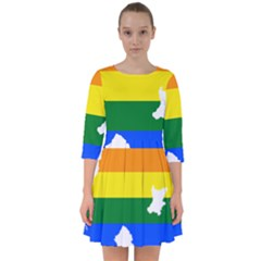 Lgbt Flag Map Of Northern Ireland Smock Dress
