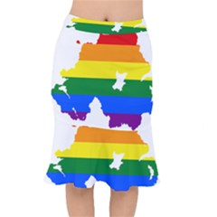 Lgbt Flag Map Of Northern Ireland Mermaid Skirt