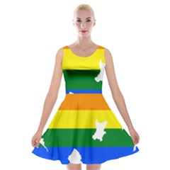 Lgbt Flag Map Of Northern Ireland Velvet Skater Dress