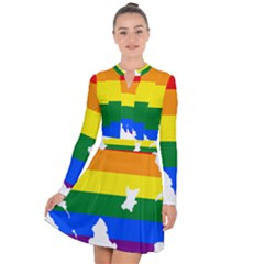 Lgbt Flag Map Of Northern Ireland Long Sleeve Panel Dress