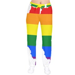 Lgbt Flag Map Of Northern Ireland Velvet Drawstring Pants