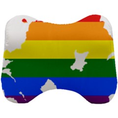 Lgbt Flag Map Of Northern Ireland Head Support Cushion