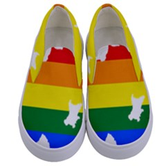 Lgbt Flag Map Of Northern Ireland Kids  Canvas Slip Ons